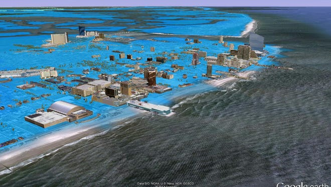 The potential storm surge in the Atlantic City area if a powerful 1821 hurricane arrived today
