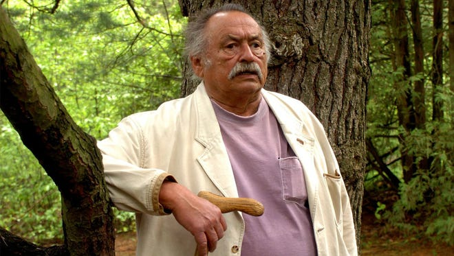 Author Jim Harrison talks about his life in Northern Michigan and Montana while walking  in the woods behind Pathfinder Elementary School in Traverse City in 2004.