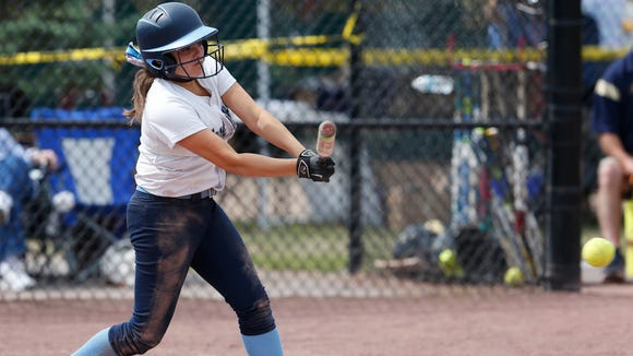 Westlake's Anotnia Perino gets a hit during Saturday's class Class B semi-final game versus Susquehanna Valley at the NYSPHSAA Softball Championships in Ganesvoort on June 9, 2018.