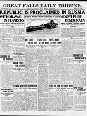 Front page of the Great Falls Daily Tribune on Monday, Sept. 17, 1917.