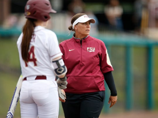 FSU's Lonni Alameda watches her team from the sidelines as they take on FAMU during their NCAA Regional game at JoAnne Graf Field on Friday May 20, 2016.