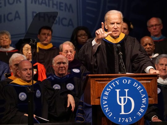 Vice President Joe Biden gives remarks at the University of Delaware's inauguration of its 28th president, Dennis Assanis.