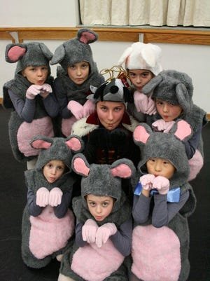 Dancers in Fountain Ballet Academy's upcoming production of The Nutcracker show off their mouse costumes during a class. Rose Zachmann (center), of Brighton, plays the mouse king. Also pictured are Eden Ackroyd, Claire Borek, Colbie Chewning, Mia Holvick, Elodie Weaver, Jonathan McKinley and Jonelle Sowash.