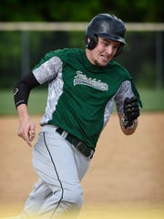 Fredericksburg's Seth Walmer heads home with the game's only run on Austin Barry's RBI single in the top of the 4th of Tuesday night's 1-0 win at Annville.