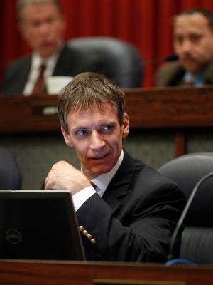 Indianapolis City-County Councilman Jeff Miller arrives at the council chambers for their meeting at the City-County Building Monday, Dec 4, 2017.