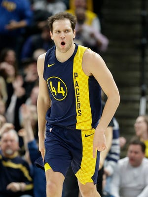Indiana Pacers forward Bojan Bogdanovic (44) celebrates hitting a 3-pointer in the second half of their game at Bankers Life Fieldhouse on Thursday, April 5, 2018. The Indiana Pacers defeated the Golden State Warriors 126-106.