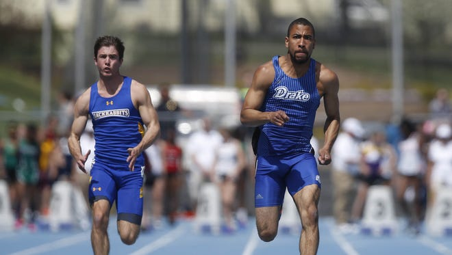 Drake's Pierce Vincent  runs down the stretch on his way to a win in the men's 100 meter in the Jim Duncan Invitational earlier this month. Vincent recorded the top time in the men's 100-meter preliminary round at this week's Drake Relays.