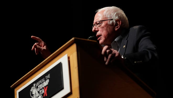 Sen. Bernie Sanders (I-VT) speaks at the Weidner Center on the UW-Green Bay campus on Saturday, February 24, 2018 in Green Bay, Wis. The event was part of a nationwide 'Repeal The Trump Tax' tour.