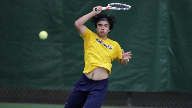 Wausau West's Luke Bailey hits a forehand return in a 1st round singles match at the 2018 WIAA boys tennis state tournament at Nielsen Tennis Stadium on Thursday, May 31, 2018 in Madison, Wis.  Adam Wesley/USA TODAY NETWORK-Wisconsin