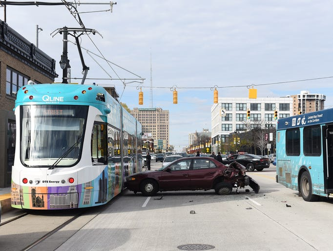 This is the scene of a crash involving a Detroit bus,