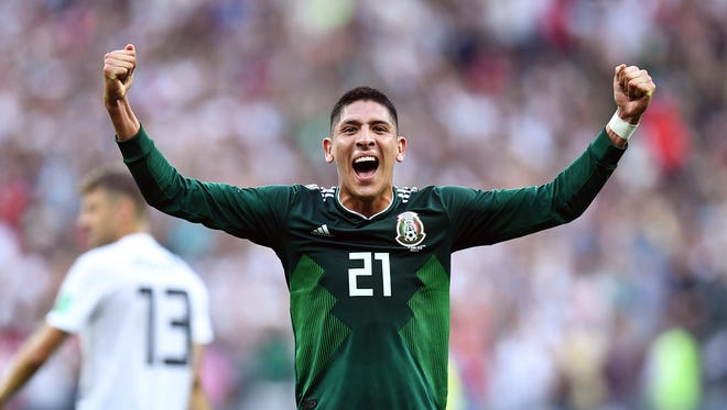 Edson Alvarez celebrates after Mexico defeated Germany in Group F play during the FIFA World Cup 2018.