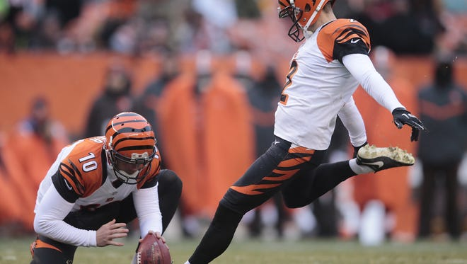 Cincinnati Bengals kicker Mike Nugent (2) kicks a field goal in the fourth quarter during the Week 14 NFL game between the Cincinnati Bengals and the Cleveland Browns, Sunday, Dec. 11, 2016, at FirstEnergy Stadium in Cleveland. Cincinnati won 23-10.