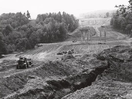 Historic photo from Putney of Interstate 91 under construction.