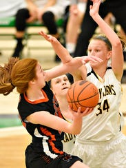 Central York's Emma Saxton, is blocked by Red Lion's