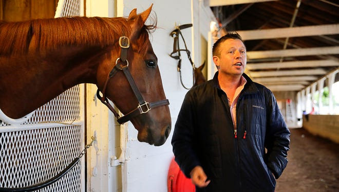 Far Right stands in his stall listening to his trainer Ron Moquett .4/22/2015