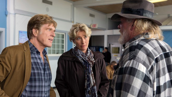 "Robert Redford, from left, as Bill Bryson, Emma Thompson as Cynthia Bryson and Nick Nolte as Stephen Katz in the film, ""A Walk in the Woods."""