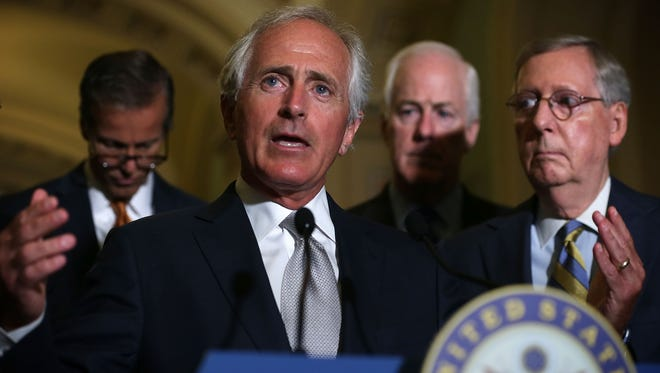 Sen. Bob Corker, R-Tenn., Majority Whip John Cornyn, R-Texas, and Majority Leader Sen. Mitch McConnell, R-Ky., tried a second time Tuesday to get senators to vote on a resolution to reject the Iran nuclear deal.