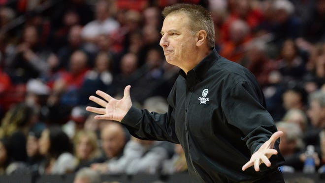 CSU coach Larry Eustachy, pictured during a Feb. 2 loss at San Diego State, and his players couldn't understand why they failed to make the NCAA tournament last year despite a 27-6 record and No. 29 RPI.
