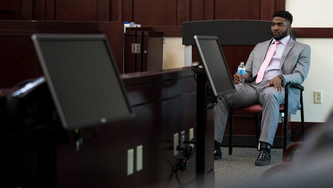 Cory Batey takes a break during a recess while testifying on April 8 in the fifth day of his trial in Judge Monte Watkins' courtroom in Nashville, Tenn.