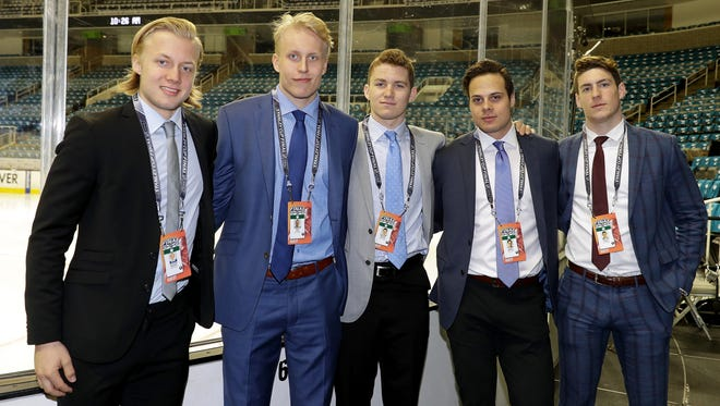From left to right: Top prospects Alexander Nylander, Patrik Laine, Matthew Tkachuk, Auston Matthews and Pierre-Luc Dubois pose prior to media availability ahead of Game 4 of the Stanley Cup Final.