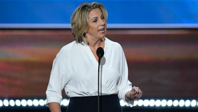 Karen Vaughn, mother of fallen U.S. Navy SEAL Aaron Carson Vaughn, speaks at the Republican National Convention in 2016.