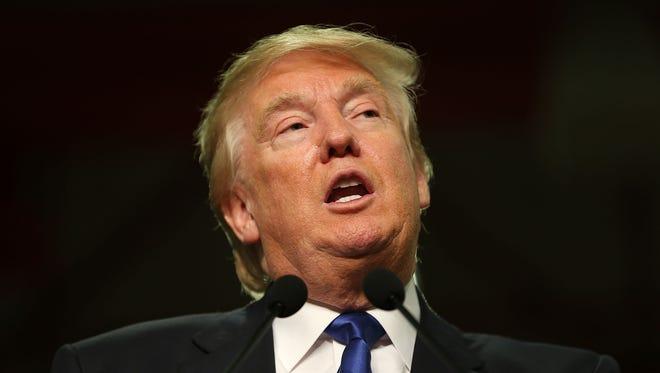 Donald Trump speaks in Clinton, Iowa.