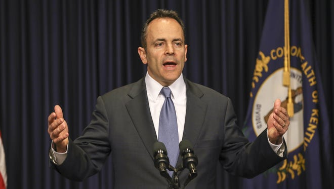 Governor Matt Bevin speaks during a press conference in 2016.