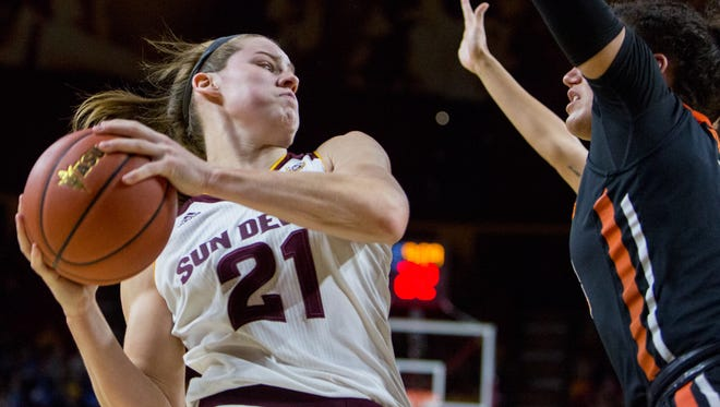 Sophie Brunner from Arizona State University gains control of the ball against the Oregon State defense at a game in Tempe, Ariz. on Feb. 3 2017.