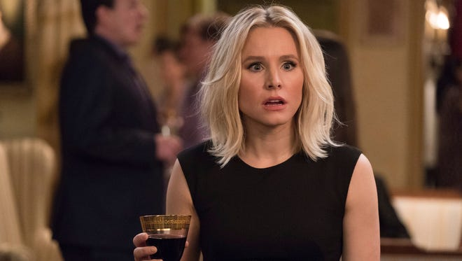 Kristen Bell (as Eleanor Shellstrop on 'The Good Place') is surprised by her daughter's Halloween costume.