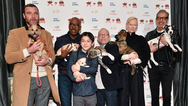 "(L-R) Liev Schreiber, Courtney B. Vance, Koyu Rankin, Bob Balaban, Tilda Swinton, and Jeff Goldblum attend the ""Isle of Dogs"" special screening at IFC Center on March 21, 2018 in New York City."