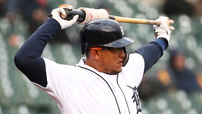 Miguel Cabrera waits to bat in the first inning against the Orioles at Comerica Park on Tuesday.