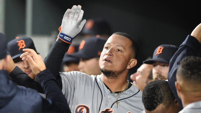 Detroit Tigers' Miguel Cabrera celebrates hitting a three-run home run in the second inning against the Baltimore Orioles at Oriole Park at Camden Yards on April 28, 2018 in Baltimore, Md.
