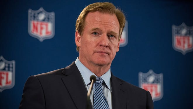 NFL Commissioner Roger Goodell holds a press conference on October 8, 2014 in New York City. Goodell addressed the media at the conclusion of the annual Fall league meeting in the wake of a string of high-profile incidents, including the domestic violence case of Ray Rice.