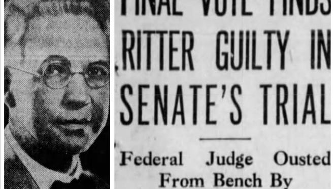 """Federal Judge Halsted Ritter Jr., who sat on the bench in West Palm Beach, and The Palm Beach Post headline the day after he was convicted of bringing """"scandal and disrepute"""" to the federal bench and removed from office."""