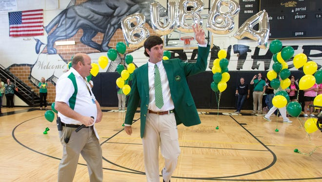 Former Milton High Graduate Master Champion Bubba Watson returns to his Alma mater to celebrate his victory at Augusta with the students of his former high school Thursday April 24, 2014.