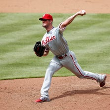 Cole Hamels lasted six no-hit innings on Monday.