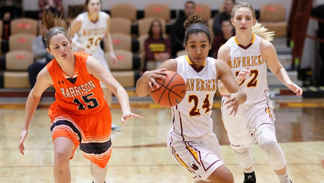 Alanah Owens leads a McCutcheon fast break against county rival Harrison Friday, December 18, 2015, at McCutcheon High School. McCutcheon defeated Harrison 46-44 2OT.