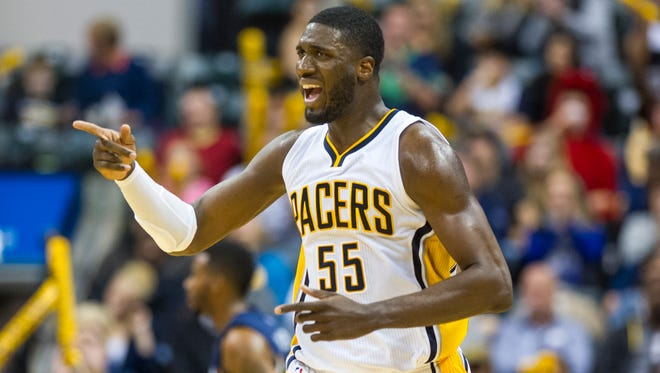 Indiana Pacers' Roy Hibbert (55) reacts after scoring during the second half of action. The Indiana Pacers hosted the Memphis Grizzlies in NBA action, Friday, October 31, 2014, at Bankers Life Fieldhouse in Indianapolis. The Grizzlies defeated the Pacers 97-89.