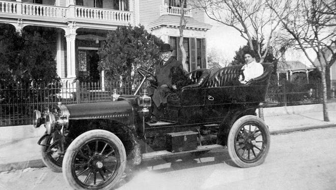 Dr. Arthur Spohn in his new Cadillac in front of the Mifflin Kenedy mansion where he and his wife Sarah Josephine Kenedy Spohn lived. In the back seat is his wife's niece from Brownsville. It was about 1905, the year he opened Spohn Sanitarium on North Beach.