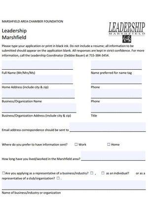 Leadership Marshfield Class application