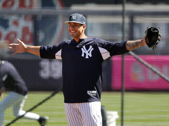 New York Yankees' Gleyber Torres warms-up before the