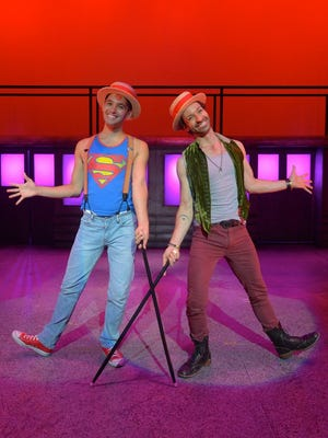 """Gilbert D. Sanchez (Jesus) and Xander Chauncey (Judas) perform """"All For The Best"""" in the Westchester Broadway Theatre production of """"Godspell."""""""
