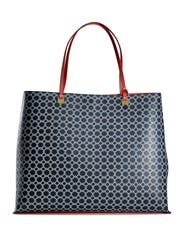 Above, red handles give this blue patterned tote just the right amount of flair. $49.99 at select Marshalls stores.
