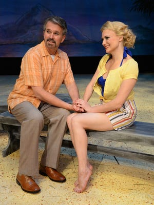 """Westchester Broadway Theatre's production of """"South Pacific"""" stars George Dvorsky (as Emile deBecque) and Haley Swindal (as Nellie Forbush)."""