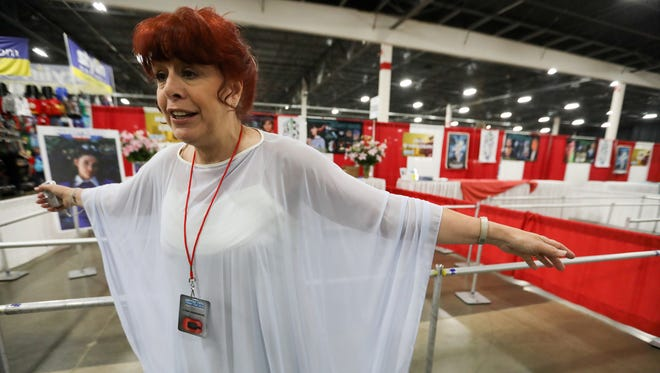 Lynn Anderson, 61, of Clinton Twp, is a super fan and friend of recently passed actress Margot Kidder and shows off one of the outfits she made from Superman that Kidder wore, during the Motor City Comic Con 2018 at Suburban Collection Showplace in Novi, Mich. on Friday, May 18, 2018.