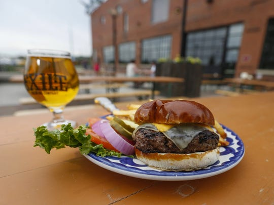The dude burger at Exile Brewing Co. in Des Moines.