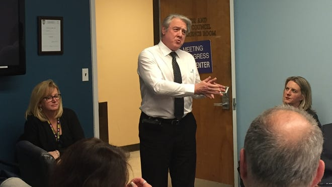 Alfred Restaino, standing, municipal division manager for the Superior Court in Essex County, speaks to the Bloomfield Township Council about bail reform on Feb. 13, 2017.