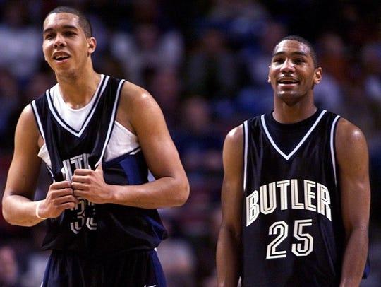 3/16/01.  Butler's Joel Cornette left and LaVall Jordan