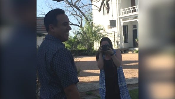 Rene Solis reacts to a surprise his wife planned for