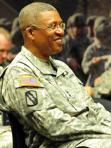 Adjutant General Augustus Collins smiles Friday during a celebration at the Mississippi Armed Forces Museum honoring the U.S. Army's 239th birthday. The celebration was hosted by the 158th Infantry Brigade.